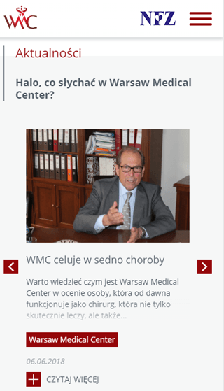 Widok strony www Warsaw Medical Center
