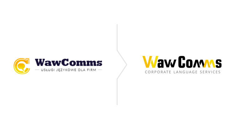 redesign logo WawComms- nowe i stare